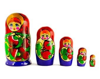 "6"" Set of 5 Maydanovskaya in Red Scarf Russian Nesting Dolls Matryoshka"