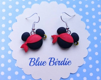 Pirate Mickey mouse earrings Disney jewelry Disney earrings pirate earrings Mickey Mouse dangle earrings Mickey Mouse jewelry Minnie gifts