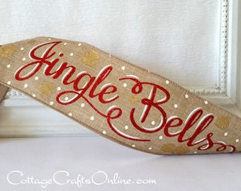 "Christmas Wired Ribbon 2 1/2"", Jingle Bells Script - TEN YARD ROLL - Red Glitter on Natural with Gold Glitter ""Jingle Red"" Wire Edged Ribbon"