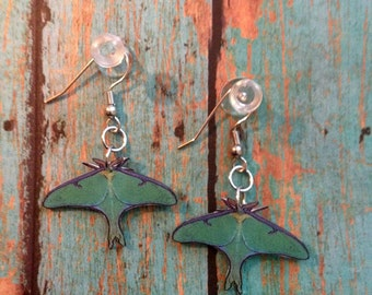 Green Luna Moth Actias Earrings Handcrafted Plastic Jewelry Accessories Fashion Novelty Unique Gift Gifts for Her