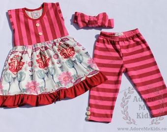 Boutique Girls / Baby Persnickety Inspired Floral Pink Stripe Dress & Capri Set