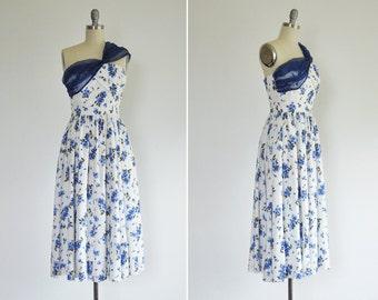 Fai dress • handmade floral midi dress • blue floral one shoulder full linen dress