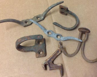 Hooks Cleats hardware lot salvage rusty metal part architectural antique repurpose country steampunk industrial decor wall hanging pair old