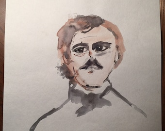 Sale! Funky Cool 11x15 Edgar Allan Poe Watercolor Painting