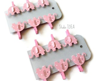 Set of 12 Pink Mini Clothespins with Pink Polka Dots Elephant Embellishment - Favor Tags, Gift Tags - Set of 12 pcs