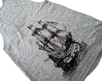 Pirate Ship Tank Top - Nautical Boat American Apparel Tri-Blend Tank - Available in sizes S, M, L