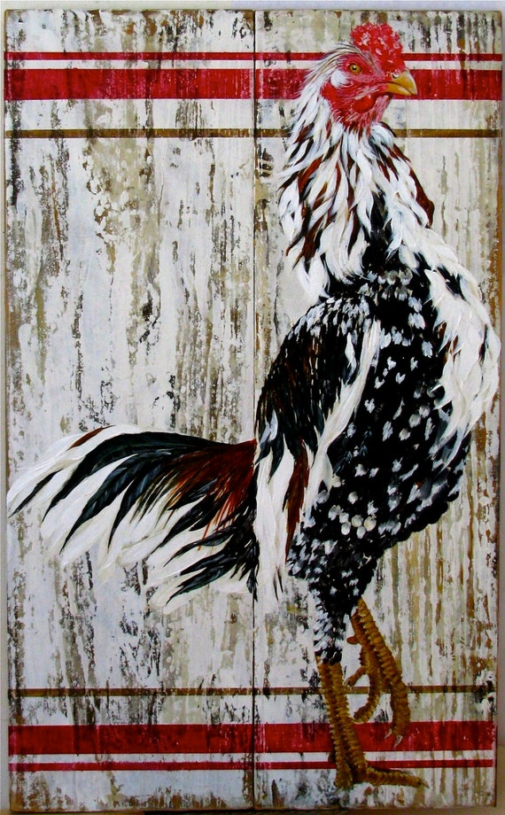 Proud Boy rooster original acrylic painting on re-pourposed wood
