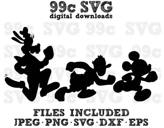 Run Disney Goofy Donald Mickey Svg Dxf Png Vector Cut File