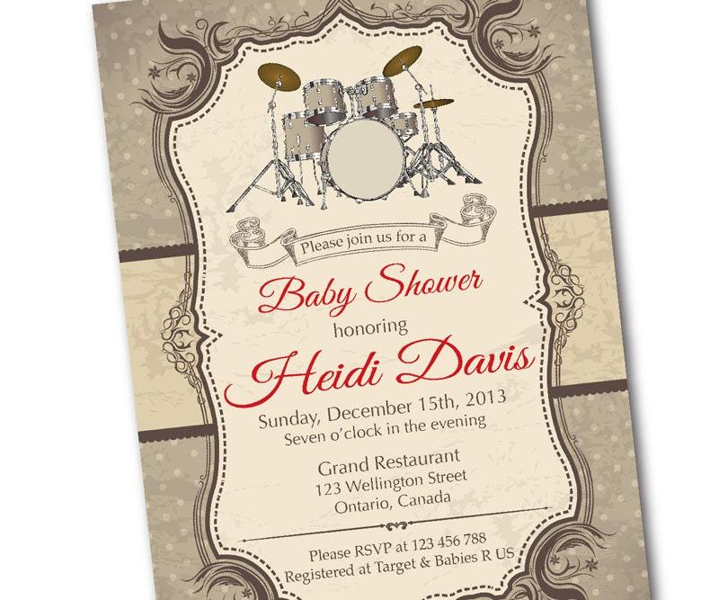 Drum Baby Shower Invitation. Rock Star Music Baby shower.