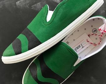 "Hand-painted ""Scribble"" slip ons (green)"