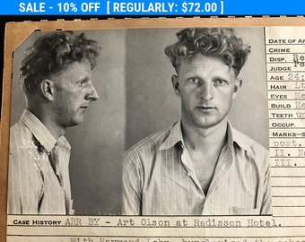 1938 Large Mug Shot of A Curly Headed School Burglar  Criminal Booking Photo Typewriter Thief