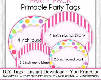 PARTY PACK - Circus Party, Carnival Party Printable Tags, Blank Circus Tags - 2.5 inch AND 4 inch - Two Styles, Two Sizes, Hot Pink Stripes