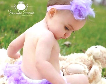 Lavender Feather Diaper Cover & Headband, Lavender Feather Bloomer, Baby's 1st Easter, Feather Tutu, Feather Skirt, Newborn Photo Outfit