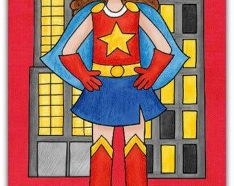 Birthday greeting card ' superheroine ' 21 cm x 10cm