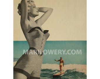 Pin up Wall Art, Paper Collage Print, 8.5 x 11 inch Print, Art for Men, Summer Wall Decor, frighten