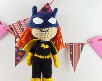 Batgirl amigurumi, Barbara Gordon amigurumi, Batgirl doll, geek toy, geek gift, nerd toy, nerd gift, geek craft, nerd craft, superhero doll