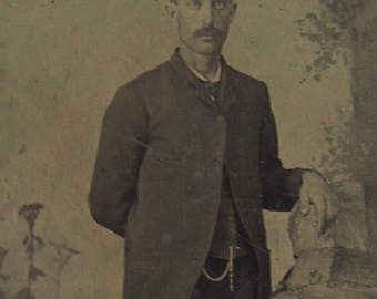 Well On His Way- Original 1880's Handsome Young Mustache Man Tintype Photograph - Free Shipping