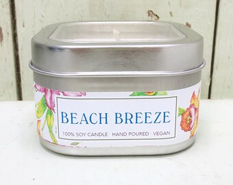 Beach Breeze 8 oz. Soy Candle - Green Daffodil Soy Candleworks - Handpoured - Siouxsan and Anne - C8