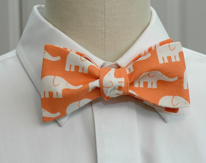Men's Bow Tie, orange with white elephants, zoo wedding bow tie, elephant lover gift, elephants bow tie, groom bow tie, cute groomsmen gift