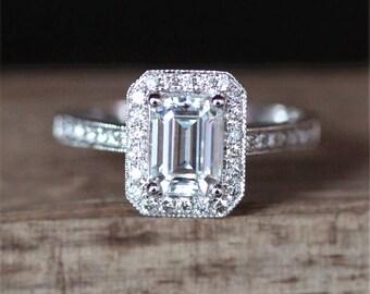 Charles&Colvard Moissanite Engagement Ring 5*7mm Emerald Cut Moissanite Ring Halo Diamonds Milgrain Bezel Wedding Ring 14K White Gold Ring