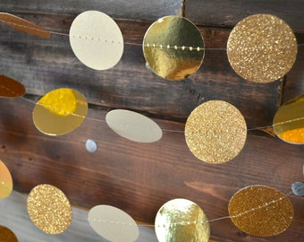 Bling Glittery Gold NYE Decor, Wedding Decor Garland, Holiday Party Decor, Baby Shower Decor, Nursery, Wedding and Bridal Shower Decor