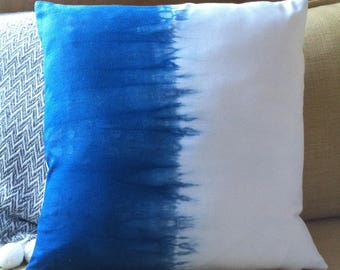 Shibori pillow cover indigo dyed cotton