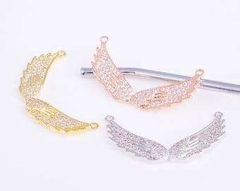 Wings charm,gold/rose gold/silver angel wings charm,cz angel wings pendant,angel wings connector,angel wings necklace