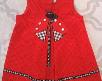 Adorable Vintage LADYBUG dress ~ Little Girl's 18 Months ~ Red with Black POLKA dots