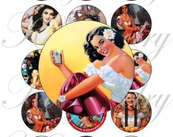 Mexican Calendar girls on a 4x6 bottle caps, pendant, buttons, scrapbook and more Vintage Digital Collage Sheet No.1618