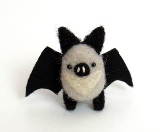 Bat brooch : Needle felted miniature animal pin - gray and black bat, Christmas gift