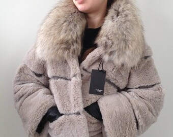 Fur coat with chinchilla  rabbit Rex