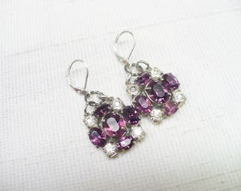 GORGEOUS Vintage Art Deco Clear/Purple Rhinestone Earrings - Vintage repurposed - silver tone-lever back ear wire - PLUM wedding - ONE (1)