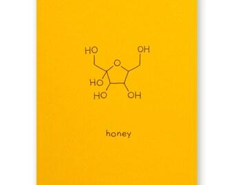 Honey Valentine Card - Foodie Love Card - Chemistry Valentine Love Card - Science Nerd Geek - Anniversary Card - Bees