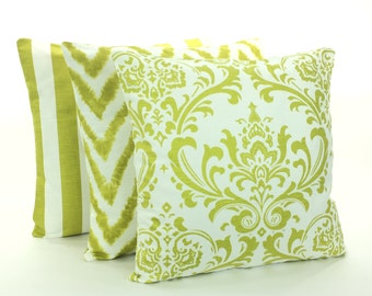 Citrus Lime White Decorative Throw Pillows Cushion COVERS  Nursery Pillows for Couch Sofa Cushion Stripe Bedding Shabby Chic Accent Pillows