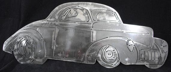 1941 Willy's Hot Rod, Vintage Style Metal Wall Art, Vintage Style, 1941 Auto Memorabilia, Automobile Wall Art, Office Decor, Automotive Art