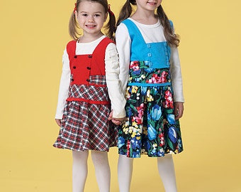 McCall's M7234 Size 2-3-4-5 or 6-7-8  Children's/Girls' Square-Neck Jumper Sewing Pattern / Uncut/FF