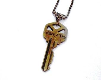 "Oxidized Brass Vintage Stamped Automobile Word Key ""Breathe""  Steampunk Style Pendant Necklace"