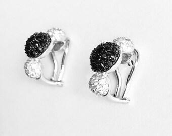 18k Black and White Diamond Earrings