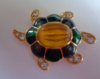 Vintage Signed Monet Goldtone/Yellow Rhinestone Tortoise Brooch/Pin