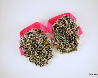 Cheetah Print Baby Sandal - Shoe Clips - Barefoot Sandals - Baby Girl Shoes - Leopard Print - Hot Pink Cheetah Print - Animal Print Shoes