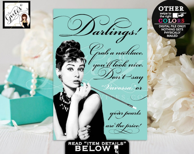 Bridal Shower Game Pearl Necklace Game Sign, Breakfast at Audrey Hepburn wedding, bridal games, Sizes available: 4x6, 5x7 & 8x10