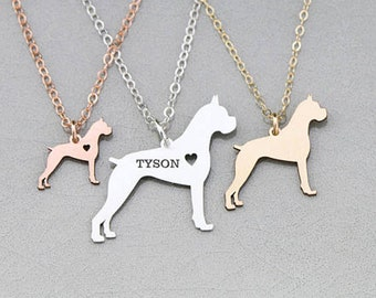 Boxer Dog Pendant • Pet Jewelry Boxer Present Memorial Sterling Silver Pet Charm Engraved • Silver Personalized Pet Memorial Birthday Gift