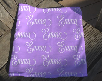 Baby Blanket With Name - Personalized Receiving Blanket for Girls - Custom Baby Blanket - Newborn Swaddling Blanket - Baby Crib Blanket