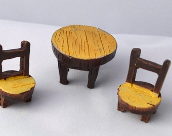 3 PC Brown Tan Wooden Design Resin Chairs Table Tiny Miniature Garden Plants Terrarium Doll House Ornament Fairy Decoration az420165