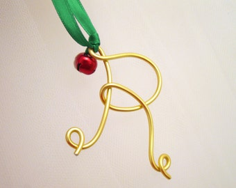 Gold Wire Letter Ornament or Silver with Jingle Bell, Monogram Letter Christmas Gift Tie-On
