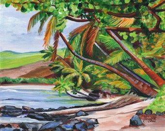 Makaweli, tropical seascape, pakalas beach, kauai art print, kauai painting, hawaiian landscape, hawaii art, hawaii decor, palm tree art