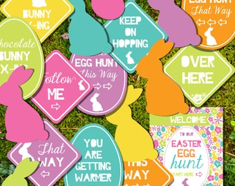 Easter Egg Hunt Printables - Easter Egg Hunt Signs - Instant Download and Editable File - Personalize at home with Adobe Reader