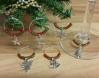 Christmas wine glass charms, festive wine charms, dinner party, wine lover gift