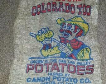 Burlap Potato Sack Colorado Cowboy Canon Co. San Luis Valley