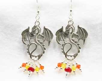 Dragon Earrings with Swarovski Crystals